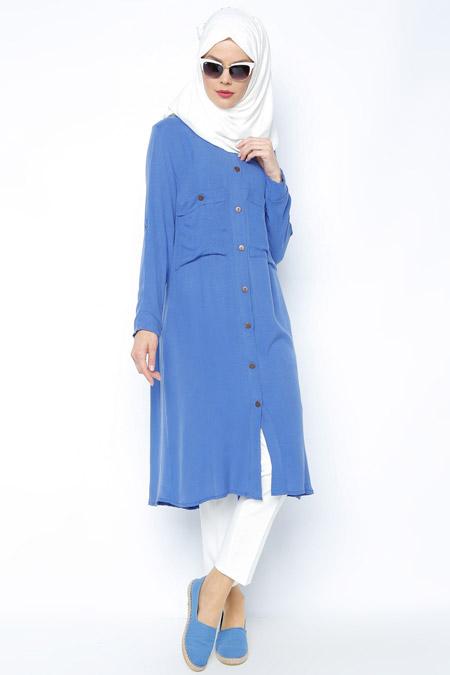 Meryem Acar Mavi Düğmeli Tunik