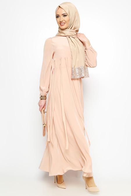 Meryem Acar Pudra Püsküllü Elbise