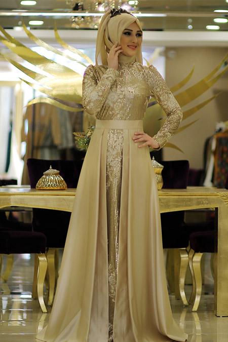 Minel Aşk Gold Kuğu Elbise