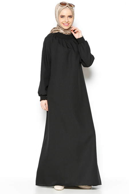 ModaNaz Siyah Düz Renk Elbise