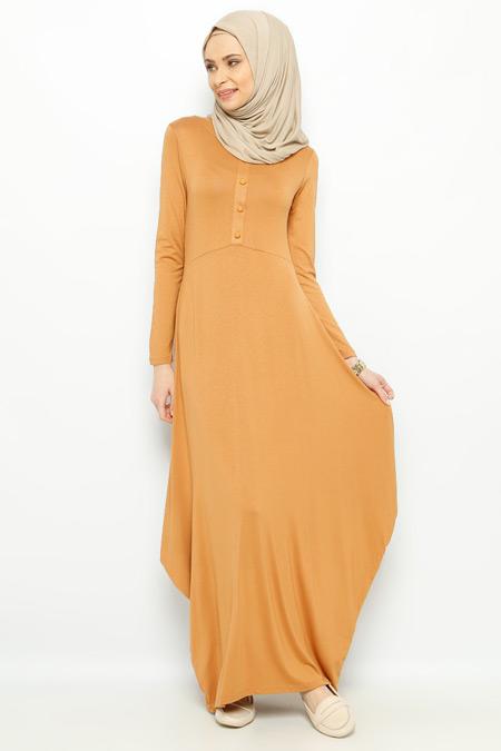 Moonlight Hardal Düğme Detaylı Elbise