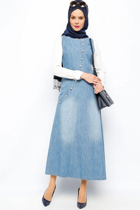 Neways Mavi Kapüşonlu Elbise