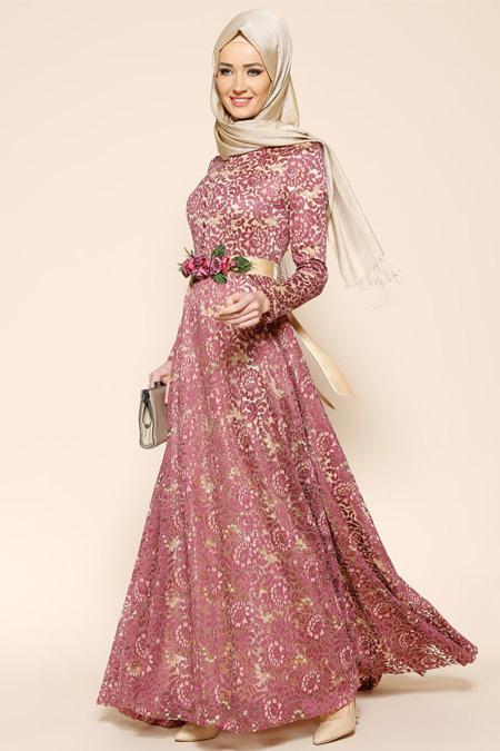Puane Gül Kurusu Dantelli Abiye Elbise