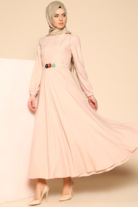 Puane Pudra Kemerli Elbise