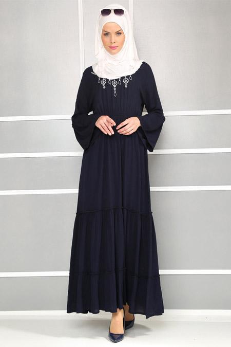 Refka Laci Nakışlı Elbise