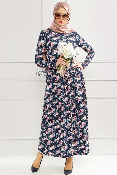 Refka Lacivert Çiçekli Elbise
