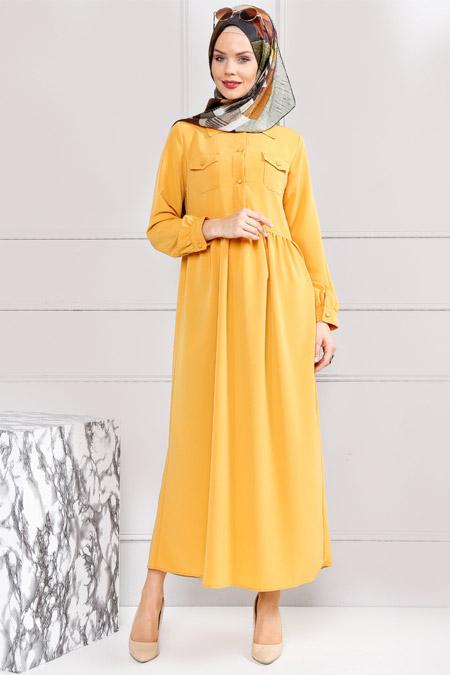 Refka Safran Cep Detaylı Elbise