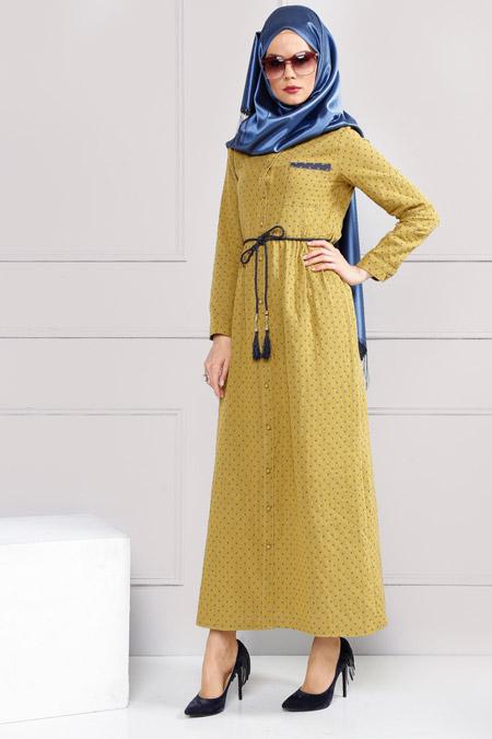 Refka Safran Düğme Detaylı Elbise