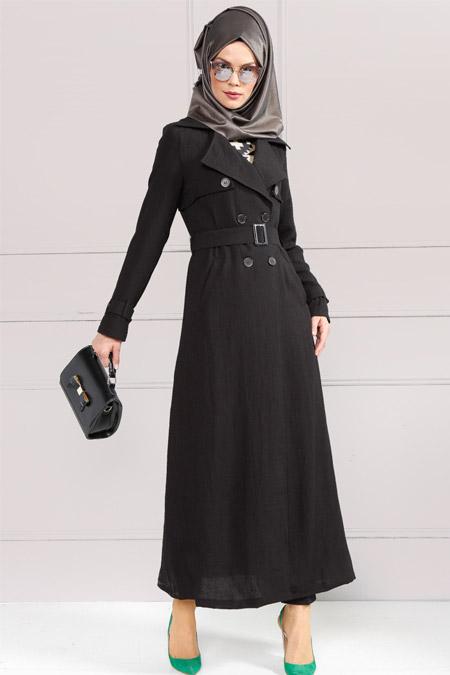 Refka Siyah Uzun Trençkot
