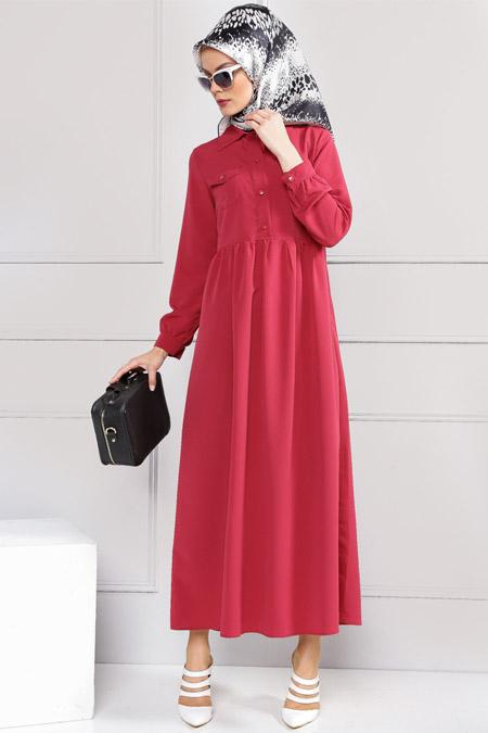 Refka Vişne Cep Detaylı Elbise