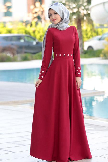 Selma Sarı Design Bordo Kuş Gözlü Elbise
