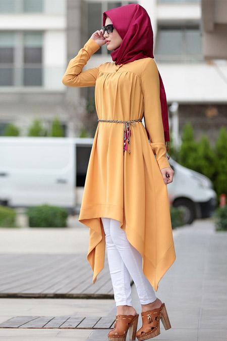 Selma Sarı Design Sarı Asimetrik Tunik