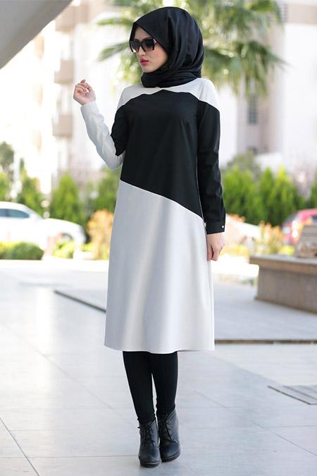 Selma Sarı Design Siyah & Beyaz Garnili Tunik