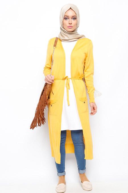 Seyhan Fashion Hardal Uzun Hırka