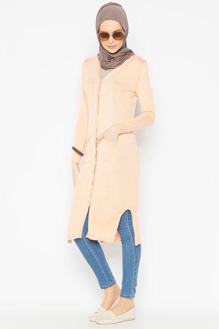 Seyhan Fashion Somon Uzun Hırka