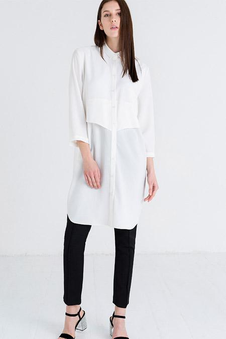 Store Wf Beyaz Düğmeli Tunik