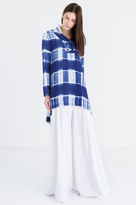 Store Wf Mavi Beyaz Şile Bezi Batik Tunik