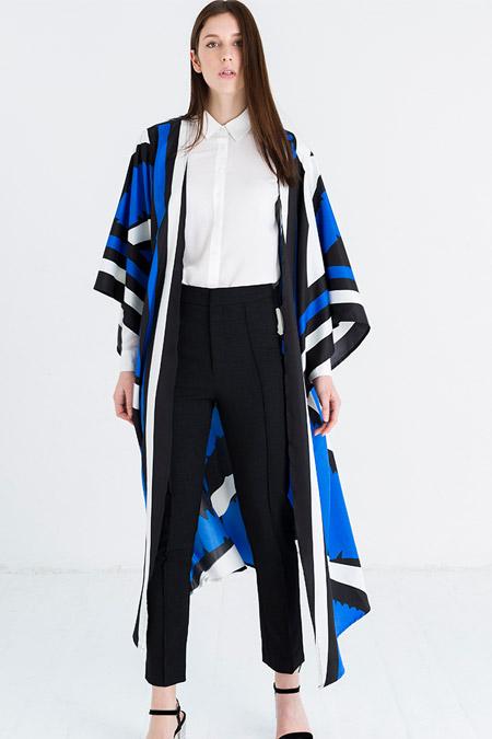 Store Wf Mavi Desenli Kimono