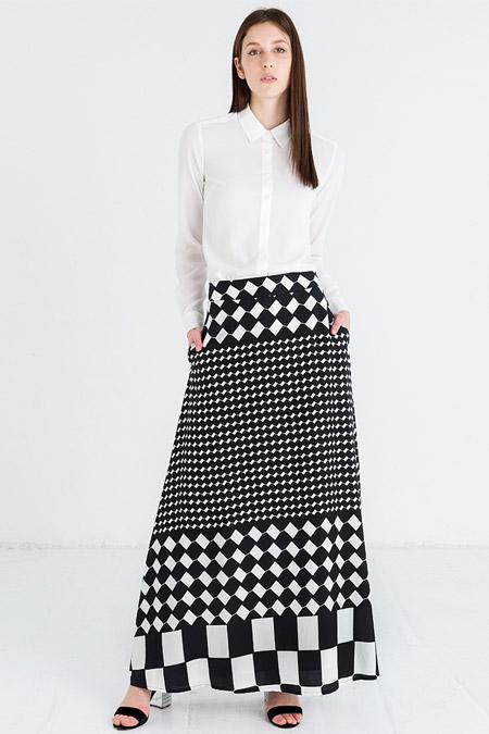 Store Wf Siyah Beyaz Kare Desenli Etek