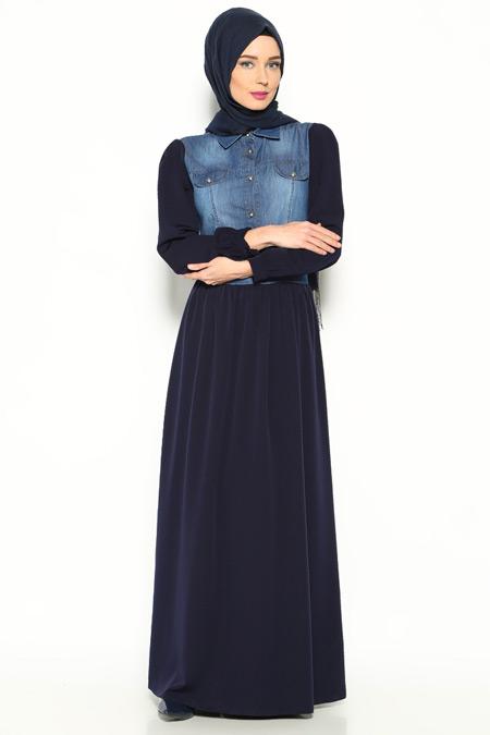 Topless Lacivert Kot Detaylı Elbise