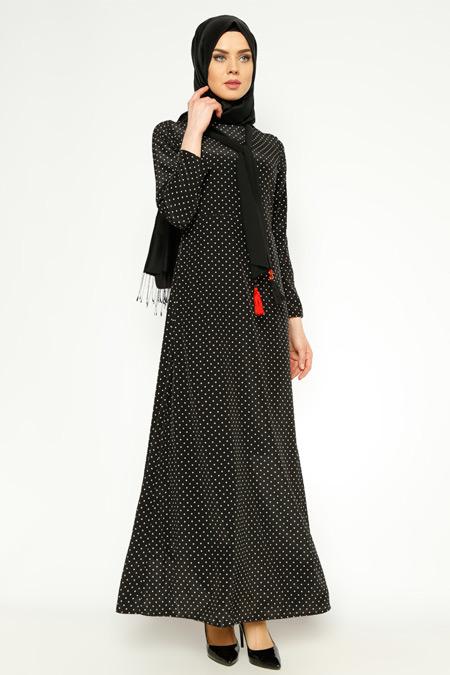 Tuncay Siyah Puantiyeli Elbise