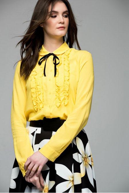 Vavist Koyu Sarı Bluz
