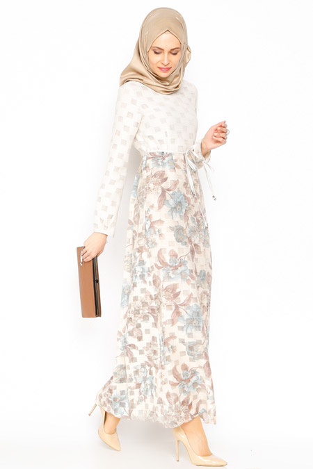 Vivezza Mavi Çiçekli Elbise