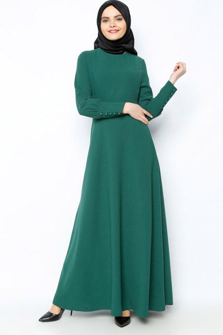 Zernişan Yeşil Tek Renk Elbise