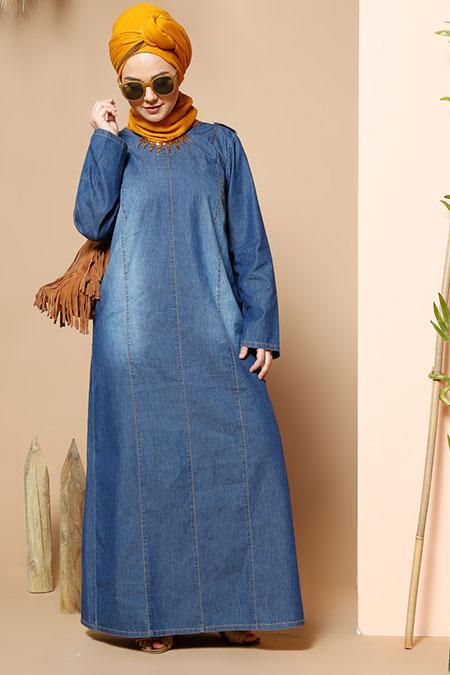 Alia Mavi Kot Elbise