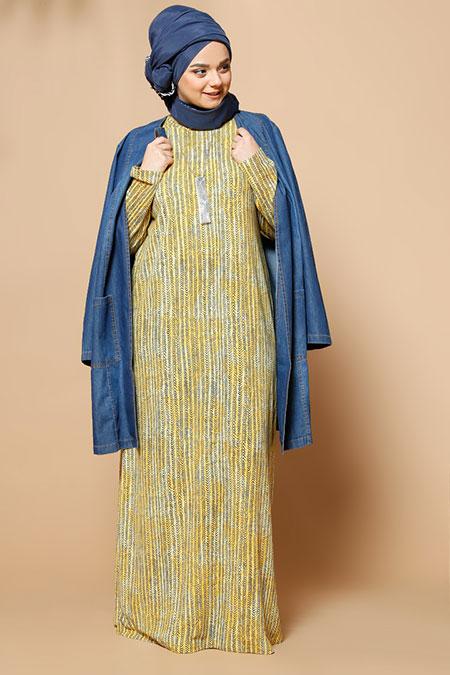 Alia Sarı Desenli Elbise