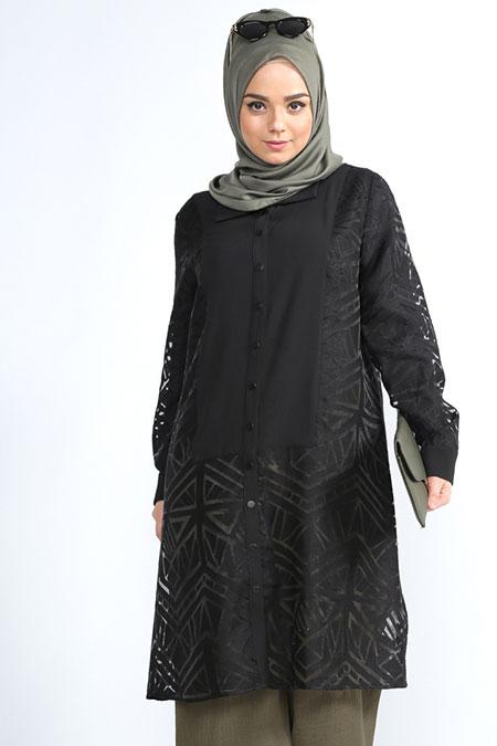 Alia Siyah Çıtçıtlı Tunik