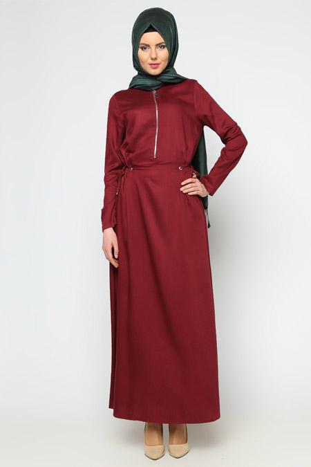 Allday Bordo Fermuar Detaylı Elbise