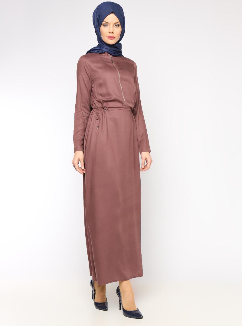 Allday Gül Kurusu Fermuar Detaylı Elbise