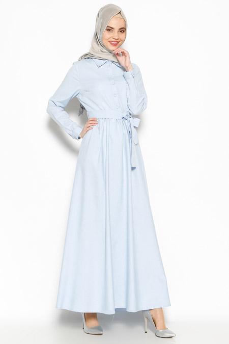 Allday Mavi Düğme Detaylı Elbise