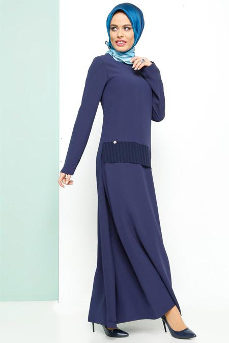Armine Lacivert Şifon Detaylı Elbise