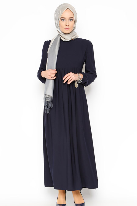 Belle Belemir Lacivert Düz Renk Elbise