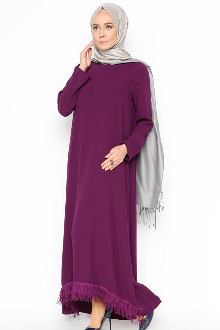 Belle Belemir Mor Püskül Detaylı Elbise