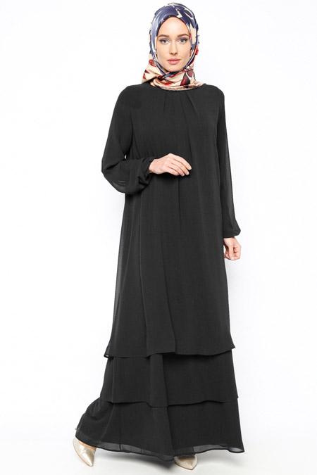 Belle Belemir Siyah Şifon Elbise