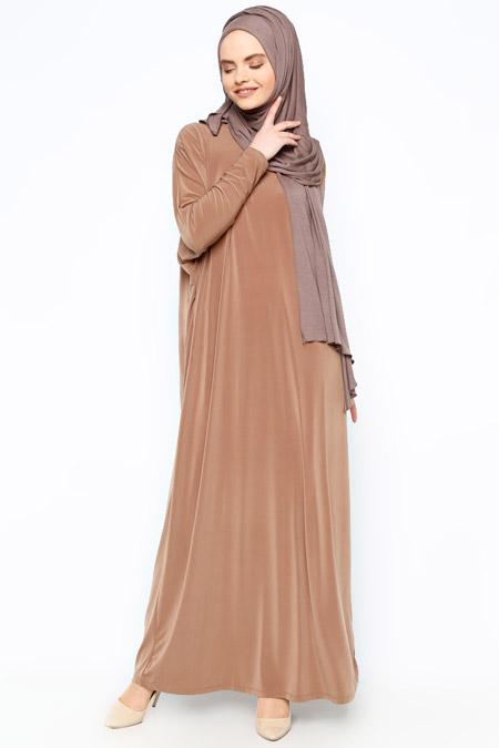 Eflatun Camel Yarasa Kollu Elbise