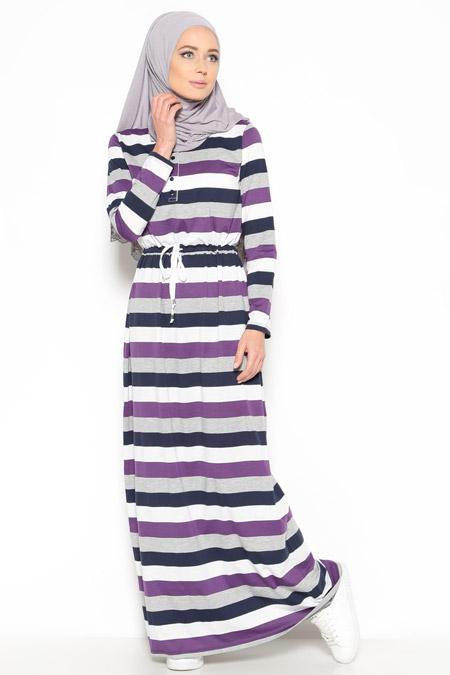 Everyday Basic Mor Çizgili Elbise