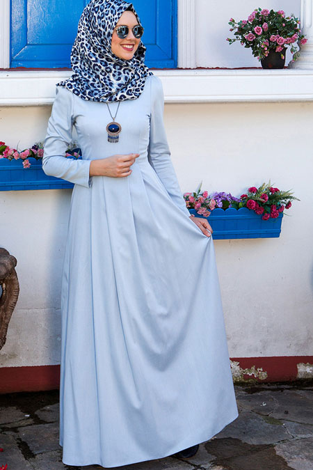 Kübra Biriktir Mavi Sasha Elbise
