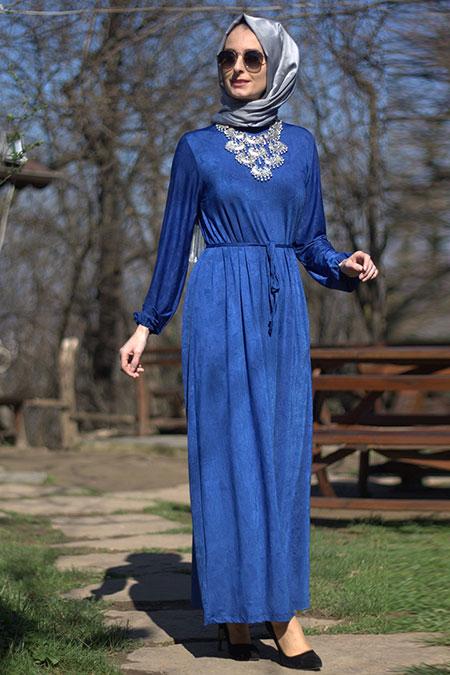 Melek Aydın Saks Kemerli Elbise