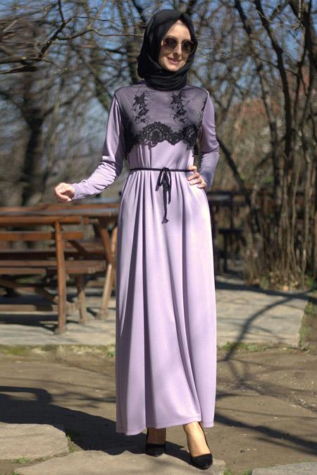 Melek Aydın Lila Dantel Desenli Elbise