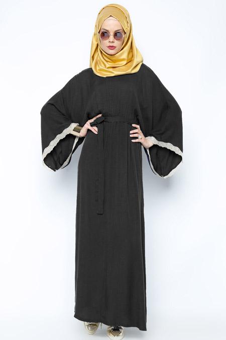 Meryem Acar Siyah Kimono Elbise