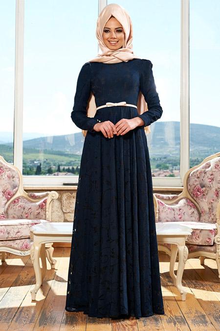 Mevra Lacivert Rüya Elbise
