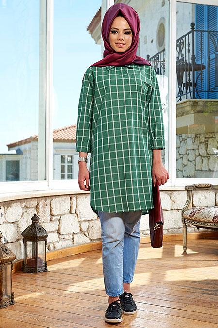 Mevra Yeşil Hira Cotton Tunik