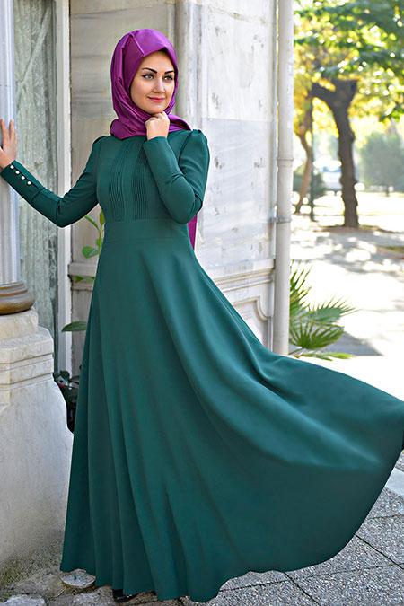 Minel Aşk Zümrüt Nervürlü Elbise