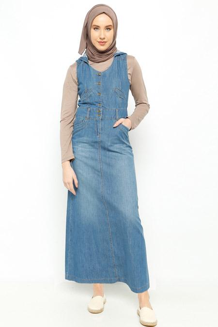 Neways Mavi Kapüşonlu Kolsuz Elbise