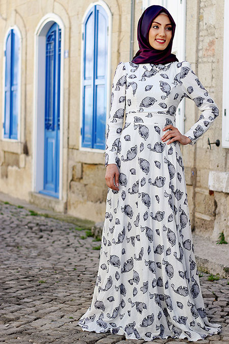 Nurkombin Organik Lacivert Keten Elbise
