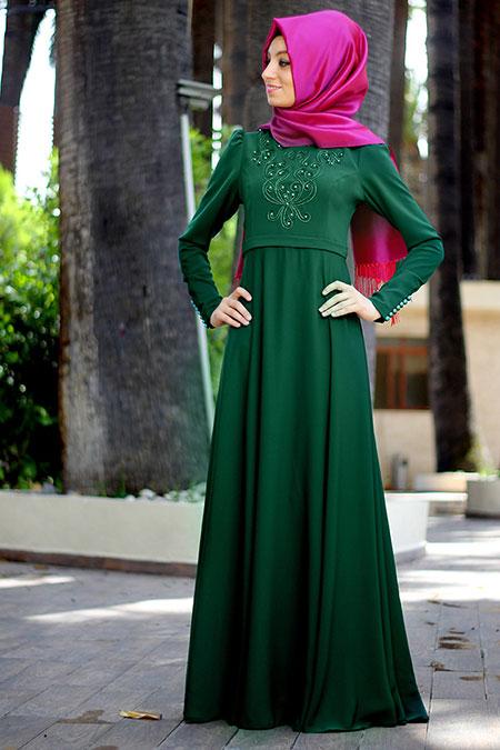 Nurkombin Zümrüt Yeşili Mahperi İncili Elbise